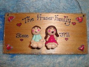 2 Characters 3d  Family Plaque(Including Pet(s)) Wooden Sign Handmade Customised to Order Unique Item